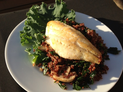 Pan-Seared Cod with Quinoa and Kale Pilaf